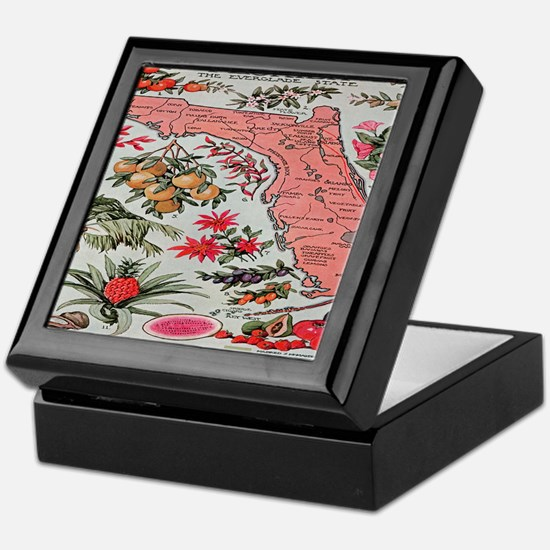 Vintage Florida Fruit Flower Map Keepsake Box