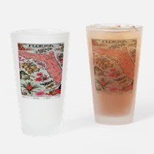 Vintage Florida Fruit Flower Map Drinking Glass
