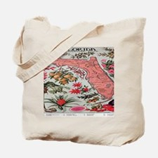 Vintage Florida Fruit Flower Map Tote Bag