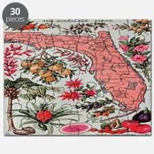 Vintage Florida Fruit Flower Map Puzzle