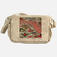 Vintage Florida Fruit Flower Map Messenger Bag