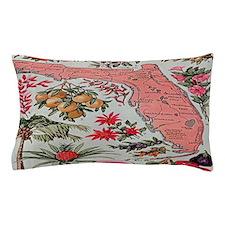 Vintage Florida Fruit Flower Map Pillow Case