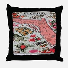 Vintage Florida Fruit Flower Map Throw Pillow