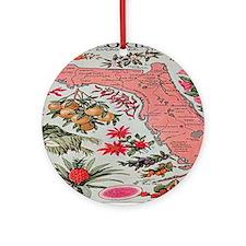 Vintage Florida Fruit Flower Map Round Ornament