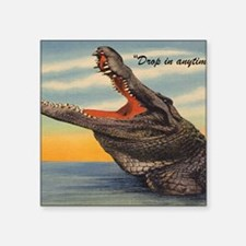 "Vintage Alligator Postcard Square Sticker 3"" x 3"""