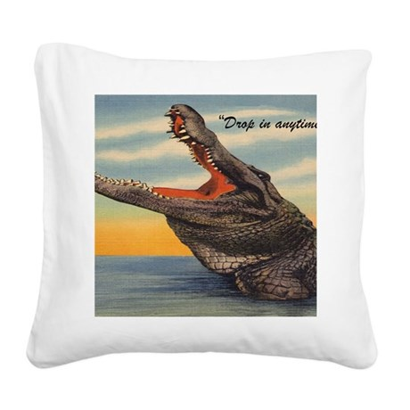Vintage Alligator Postcard Square Canvas Pillow