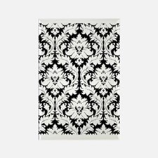 Black and white damask Rectangle Magnet