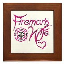 Firemans Wife Design Framed Tile