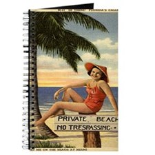 Vintage Private Beach Postcard Journal