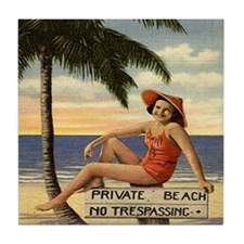 Vintage Private Beach Postcard Tile Coaster