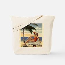Vintage Private Beach Postcard Tote Bag