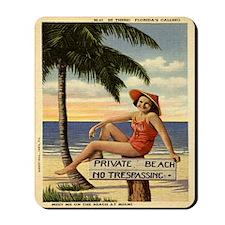 Vintage Private Beach Postcard Mousepad