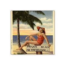"Vintage Private Beach Postc Square Sticker 3"" x 3"""