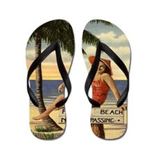 Vintage Private Beach Postcard Flip Flops