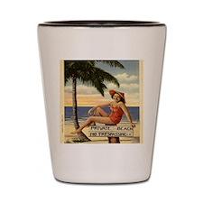 Vintage Private Beach Postcard Shot Glass