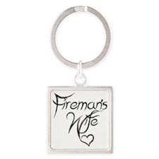Firemans Wife Design Square Keychain