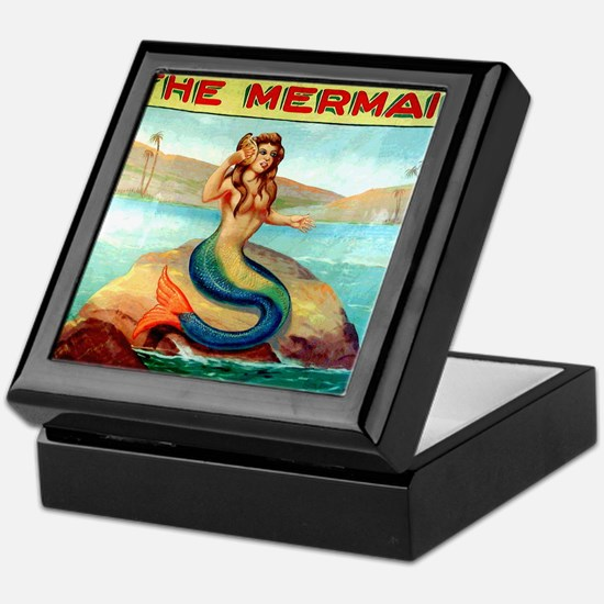 Vintage Mermaid Carnival Poster Keepsake Box