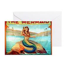 Vintage Mermaid Carnival Poster Greeting Card
