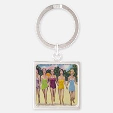 Vintage Florida Bathing Beauties Square Keychain