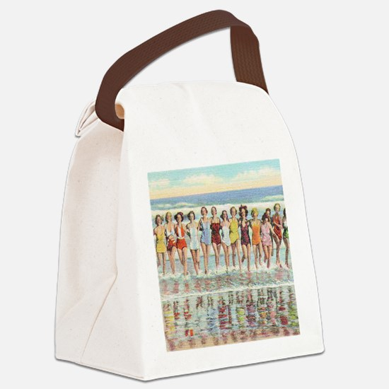 Vintage Women Running Beach Seash Canvas Lunch Bag