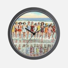 Vintage Women Running Beach Seashore Wall Clock
