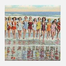 Vintage Women Running Beach Seashore Tile Coaster