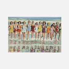 Vintage Women Running Beach Seash Rectangle Magnet
