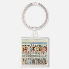 Vintage Women Running Beach Seasho Square Keychain