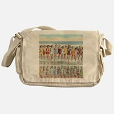 Vintage Women Running Beach Seashore Messenger Bag