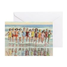 Vintage Women Running Beach Seashore Greeting Card
