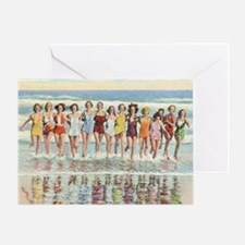 Vintage Women Running Beach Seashore Greeting Card