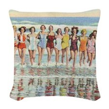 Vintage Women Running Beach Se Woven Throw Pillow