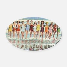 Vintage Women Running Beach Seasho Oval Car Magnet