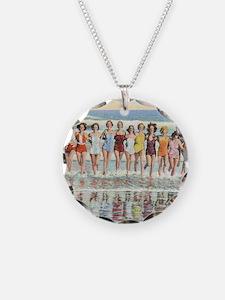 Vintage Women Running Beach  Necklace