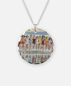Vintage Women Running Beach  Necklace Circle Charm