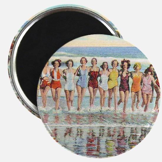 Vintage Women Running Beach Seashore Magnet