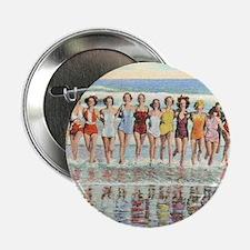 "Vintage Women Running Beach Seashore 2.25"" Button"
