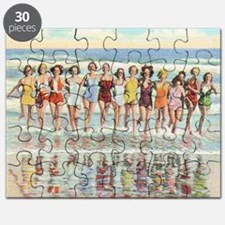 Vintage Women Running Beach Seashore Puzzle