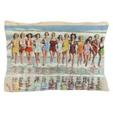 Vintage Women Running Beach Seashore Pillow Case