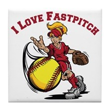 red, Love Fastpitch Tile Coaster