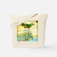 Vintage Tropical Bird Map Postcard Tote Bag