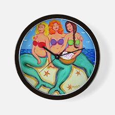 Mermaids Merbabes Seashells Beach Wall Clock