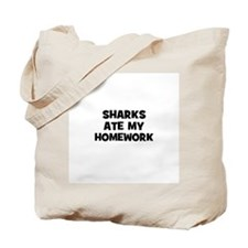 sharks ate my homework Tote Bag