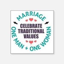 "Celebrate Traditional Value Square Sticker 3"" x 3"""