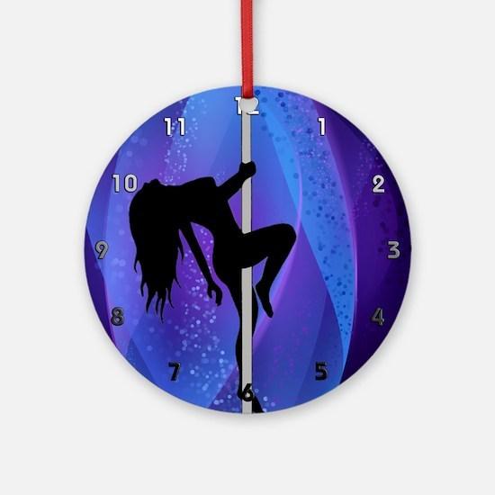 Stripper Girl - Purple Clock Round Ornament
