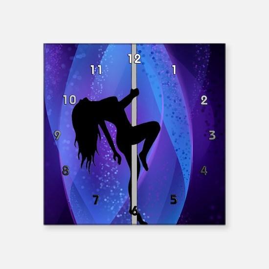 """Stripper Girl - Purple Cloc Square Sticker 3"""" x 3"""""""