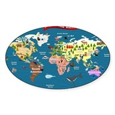 World Map For Kids - Lets Explore Decal