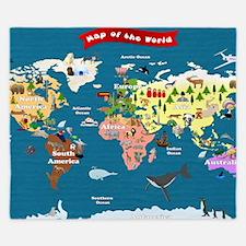 World Map For Kids - Lets Explore King Duvet
