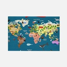 World Map For Kids - Lets Explore Rectangle Magnet