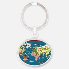 World Map For Kids - Lets Explore Oval Keychain